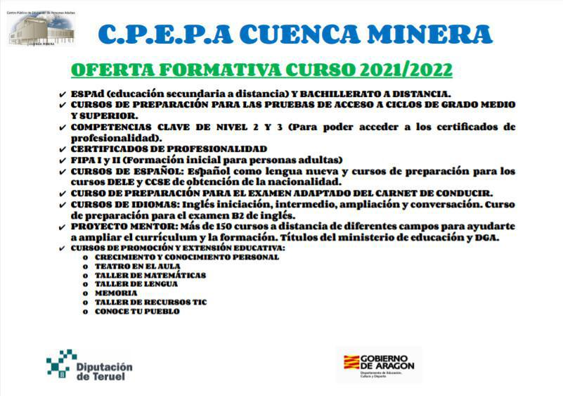 MUNIESA. EDUCACIÓN PARA ADULTOS CURSO 2021/2022.